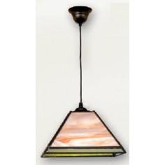 Lámpara con cristales de tiffany en colores crema y verde
