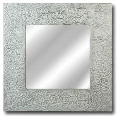 Comprar espejo con marco y adornos de madera en plata for Espejos con marco color plata