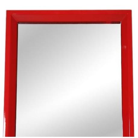 Espejo de pie con marco de madera en color rojo for Espejo rectangular con marco de madera
