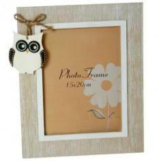 Portafotos con motivo de búho fabricado en madera 15x20