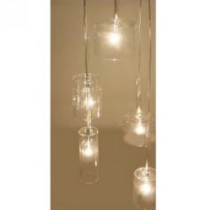 Lámpara de techo cristal y metal cromado