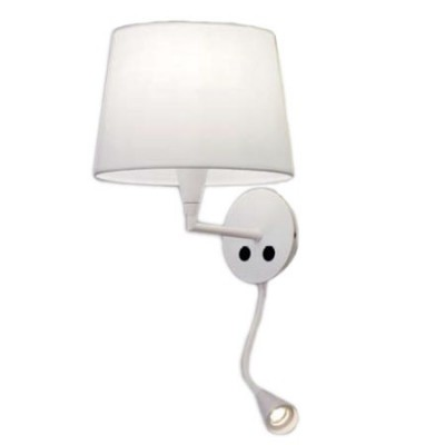 Aplique con pantalla color blanco con brazo extensible led