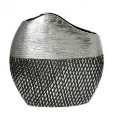 Jarrón fabricado en cerámica de estilo moderno y color plata