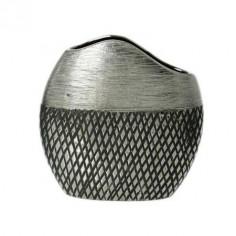 Jarrón de cerámica en colores gris y plata