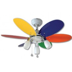 Ventilador blanco cromo palas reversibles blanco multicolor