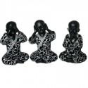 Set de 3 figuras de buda fabricado con resina y tela