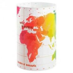 Lámpara de sobremesa con motivo de mapas del mundo