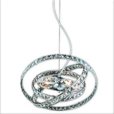 Lámpara colgante de cuatro luces con acabados en cromo y cristal
