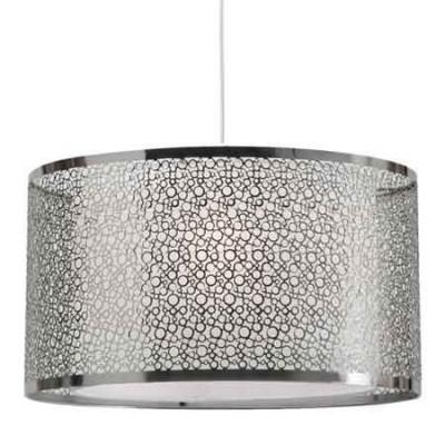 Lámpara colgante con doble pantalla en metal calado