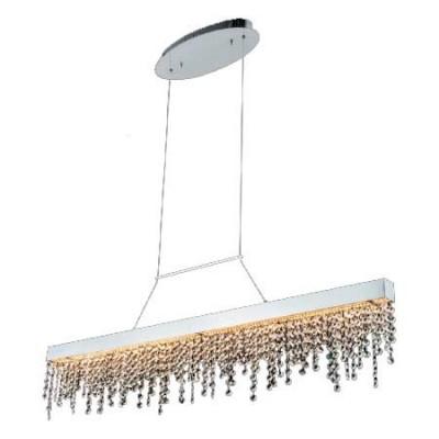 Lámpara de LED en color cromo con lágrimas de cristal