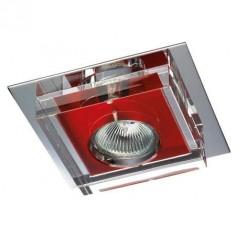 Aro empotrable moderno en color rojo con cristal transparente