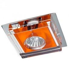 Aro empotrable moderno en color naranja con cristal trasparente