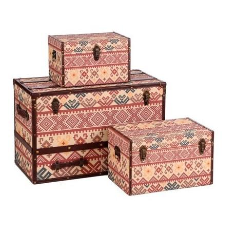 Tres ba les decorativos fabricados con lino en multicolor - Baules decorativos ...