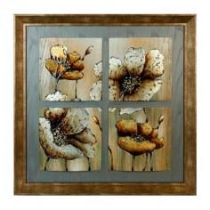 Cuadro de madera pintado a mano de flores