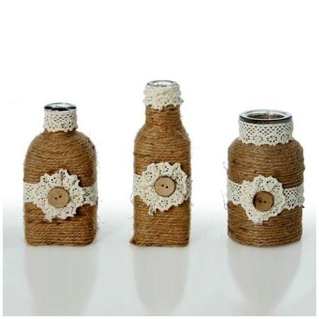 Comprar jarrones peque os de cristal decorados con cuerda for Jarrones de vidrio decorados