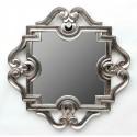 Espejo de madera Doblón con acabado en plata