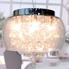 Lámpara colgante Jelly con pantalla y detalles de cristal