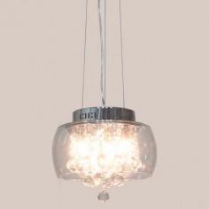 Lámpara colgante de cristal con base en cromo