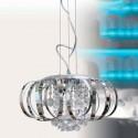 Lámpara de techo con detalles en cromo y cristal