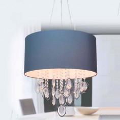 Lámpara con detalles de cristal y pantalla azul