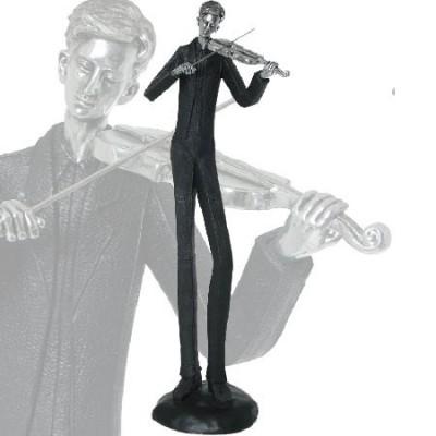 Violinista fabricado en resina en color negro y plata