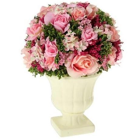 Comprar centro de flores en color rosa con maceta crema - Flores de maceta ...
