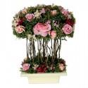 Centro de flores artificiales en color rosa