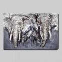 Cuadro al óleo de elefantes en relieve