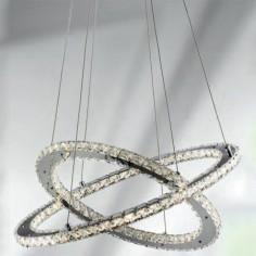 Lámpara colgante en cromo decorada con cristales