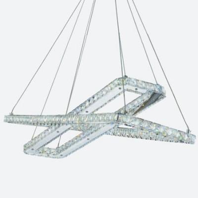 Lámpara colgante de Led en cromo y cristal