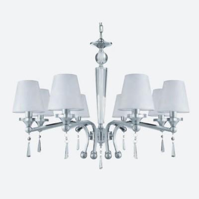 Lámpara con 8 luces en cromo y cristal
