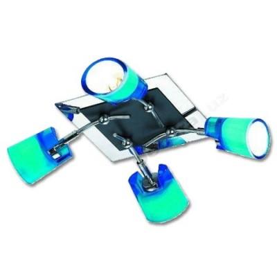 Plafón moderno cuatro luces cristal color azul cromo