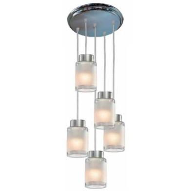 Lámpara con 5 luces en cristal y cromo