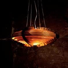 Lámpara colgante de techo Ufo en madera