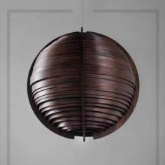 Lámpara colgante Ufo bola en madera