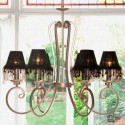 Lámpara con seis luces en plata y negro