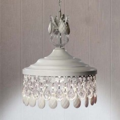Lámpara colgante Demetria acabado blanco con detalles en cristal