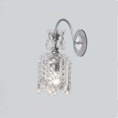 Aplique pared Alexandra en plata con detalles en cristal transparente