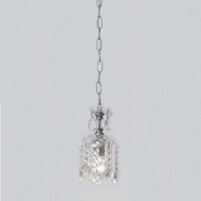 Lámpara colgante Alexandra tono plata y cristal transparente
