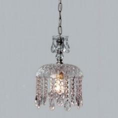 Lámpara de techo Alexandra en plata y detalles en cristal transparente