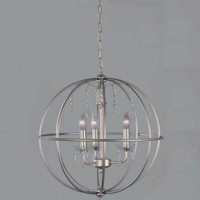 Lámpara de techo Gea esfera metálica color plata con detalles en cristal