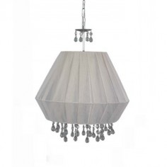 Lámpara colgante Elma en plata con pantalla textil color begonia y detalles en cristal