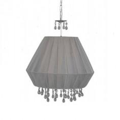 Lámpara colgante Elma en plata con pantalla textil color acacia y detalles en cristal