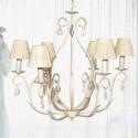 Lámpara de techo clásica modelo Castalia 6 brazos color blanco