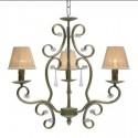 Lámpara de techo Ebano en plata envejecida con tres luces y detalles en cristal