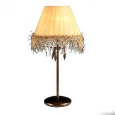 Lámpara sobremesa Alena tono envejecido pantalla textil con flecos