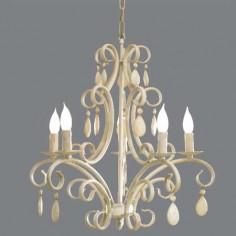 Lámpara de techo clásica cinco brazos en color blanco y lágrimas tintadas