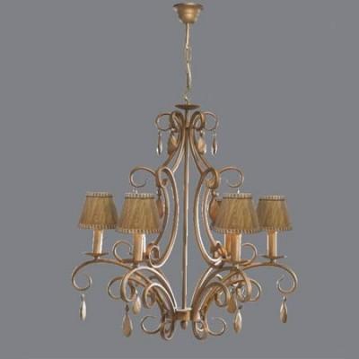 Lámpara de techo clásica 6 brazos tono oro y pantallas en dorado