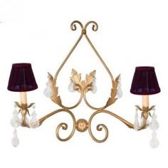 Aplique clásico color oro dos luces detalles de hojas y plaquetas transparentes