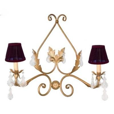 Aplique clásico en color oro dos luces con detalles de hojas y plaquetas transparentes